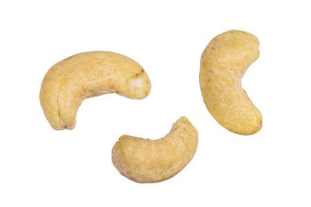 Raw cashew nut isolated on white background