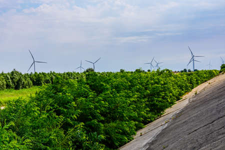 Wind turbines at the countryside. Clean energy. Ecological concept
