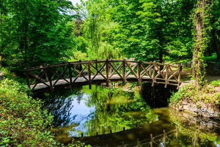 Wooden footbridge in city park on summer