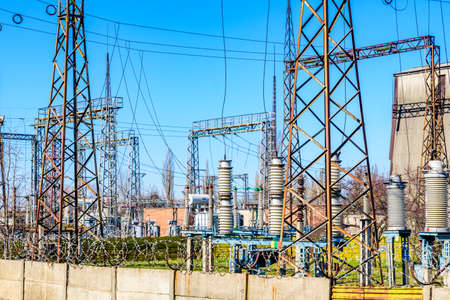 View on high voltage distribution substation of factory Banco de Imagens