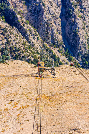 Cable car on Tahtali mountain not far from Kemer town. Antalya province, Turkey Banco de Imagens
