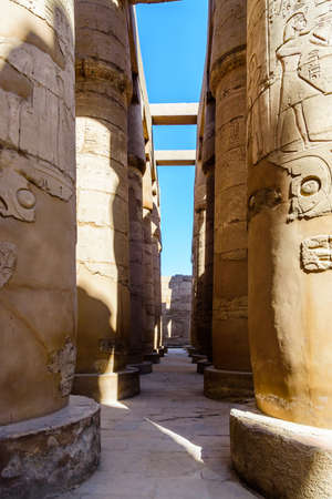 Columns in great hypostyle hall of Karnak temple