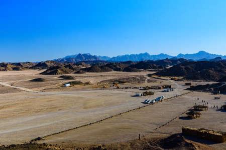 View on bedouin village in Arabian desert not far from Hurghada city, Egypt Banco de Imagens