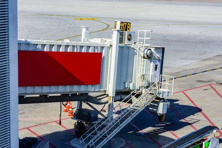Airplane ladder at airport in Antalya city, Turkey. Service vehicle Imagens