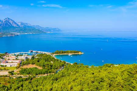 Aerial view of marina in Kemer town. Antalya province, Turkey