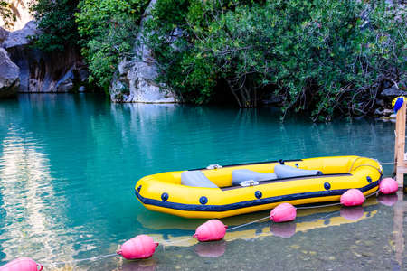 Empty boat on lake in Goynuk canyon. Antalya province, Turkey