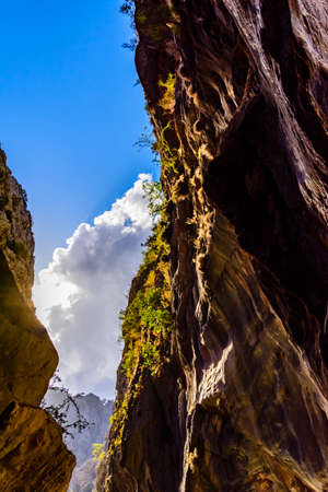 Rocks in Goynuk canyon. Looking up. Antalya province, Turkey