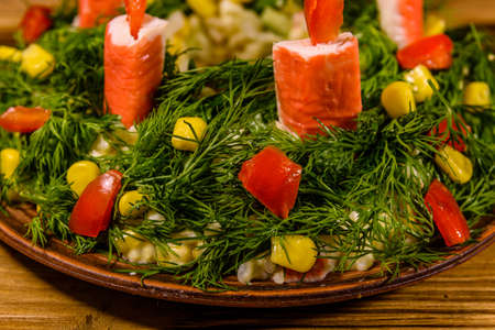 Festive salad in shape of Christmas wreath. Christmas and new year celebration Zdjęcie Seryjne
