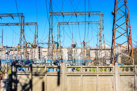 View on high voltage distribution substation of factory Stock Photo