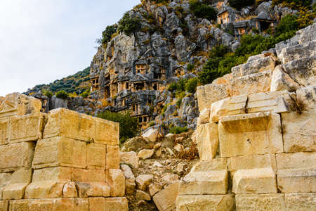 Ruins of ancient roman or greek theater in town Demre. Ancient Myra city. Antalya province, Turkey 報道画像