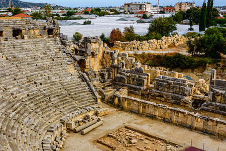 Ruins of ancient roman or greek theater in town Demre. Ancient Myra city. Antalya province, Turkey 写真素材