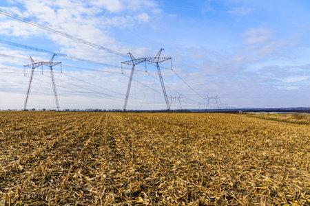 High voltage power line in field on autumn Stockfoto