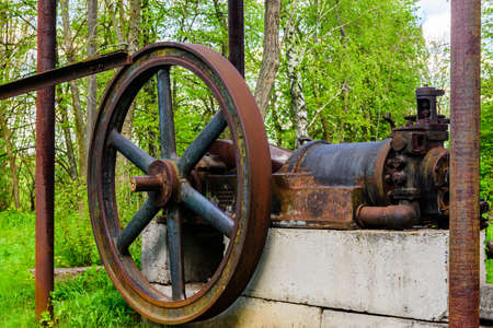 Details of old steam threshing machine. Agricultural equipment