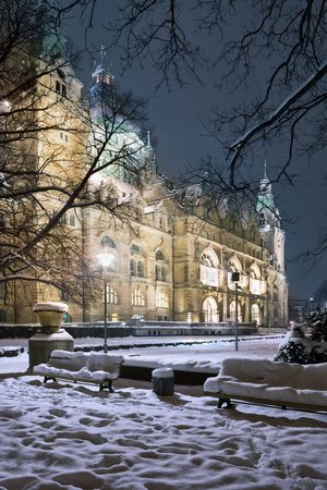 Winter view of Neus Rathaus Hannover, The New Town City Hall photo