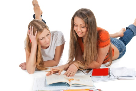 two young happy student girl Stock Photo - 8937370