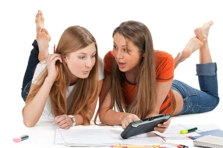 two young happy student girl work on laptop computer Stock Photo - 8937375