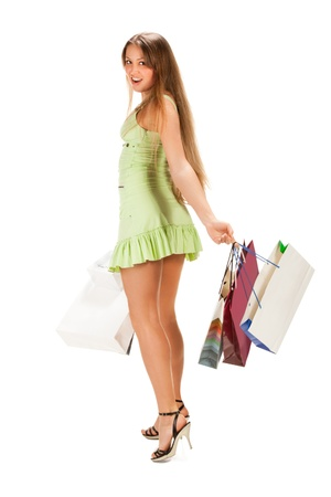 Shopping. Beautiful girl with bag i photo