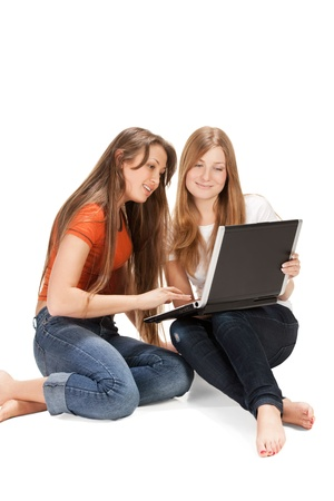 two young happy student girl Stock Photo - 8936087
