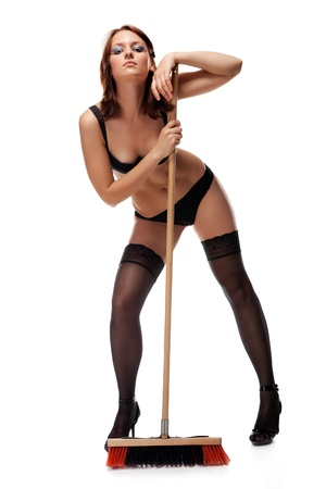 sexy cleaner, isolated on a white background photo