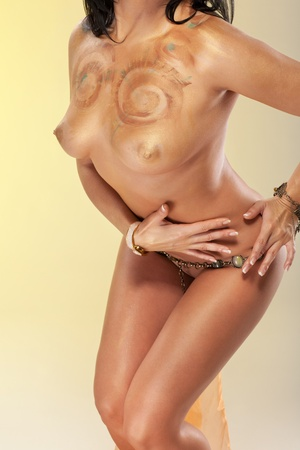 Naked woman dancing in Cleopatra style Stock Photo - 8939525