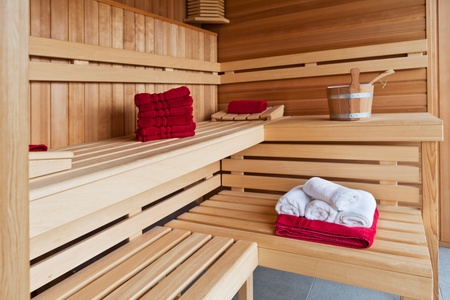 Interior of a wooden sauna photo