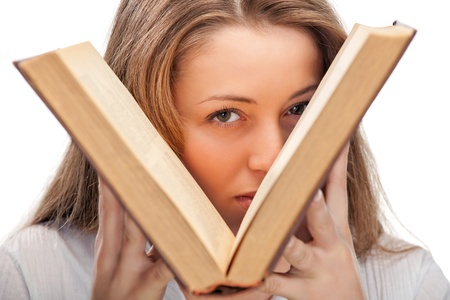 woman with book photo