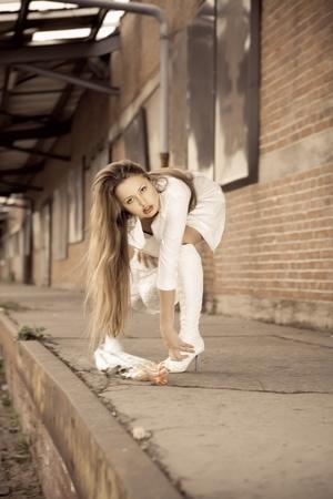 beautiful young girl in white. photo