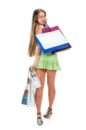 Shopping. beautiful girl with bag photo
