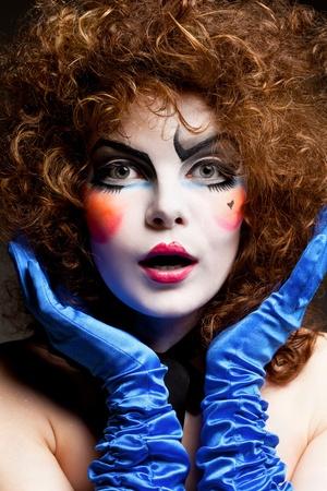 mimo: mujer mime con maquillaje teatral Foto de archivo