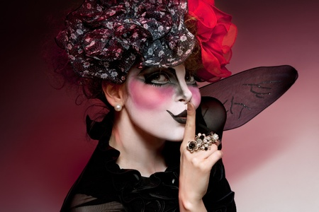 woman mime with theatrical makeup photo
