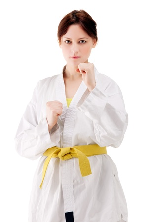 young sexy women in a karate pose photo
