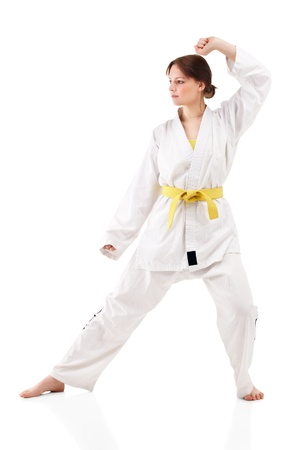 young sexy women in a karate pose Stock Photo - 9246679