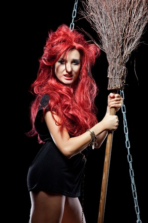 Witch with scary expression.. photo