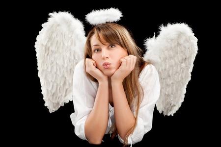 beautiful blonde angel woman photo