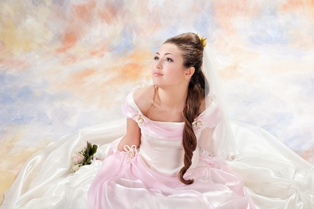 Beautiful woman dressed as a bride Stock Photo
