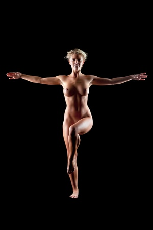 young naked women on black background Stock Photo - 9353807