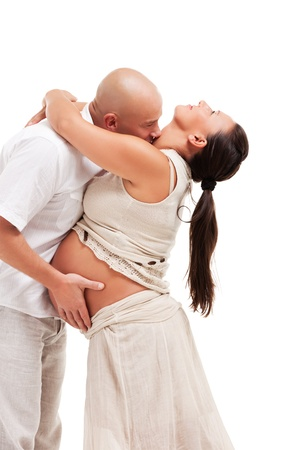 Happy pregnant woman with her husband photo