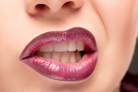 Perfect shiny womans lips closeup Stock Photo