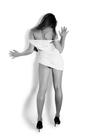 Rear view of a beautiful sexy woman, monochrom Stockfoto