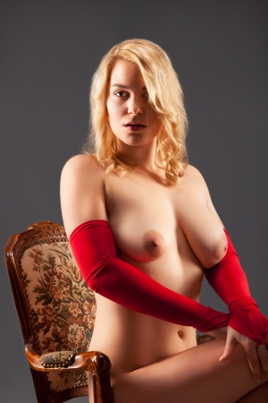 nude blond girl: attractive naked woman