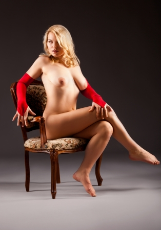 blond nude: attractive naked woman