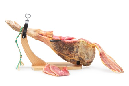 Spanish ham. Jamon Serrano. Isolated on white.