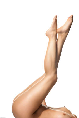 Slim woman body, isolated on white background photo