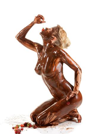 nude blonde woman covered sweet cream chocolate