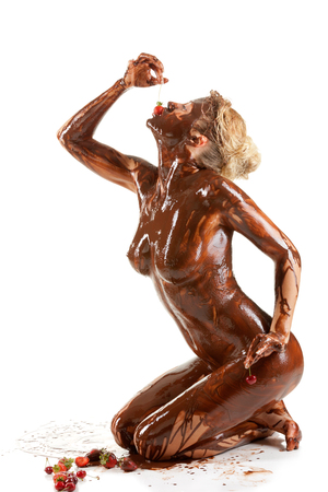 nude blonde woman covered sweet cream chocolate