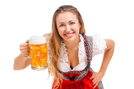 Bavarian girl over white background