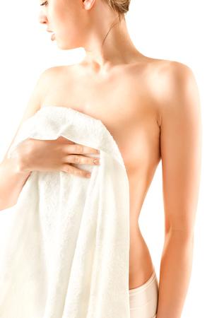 nude young: Тонкий женщина тело, изолированных на белом фоне