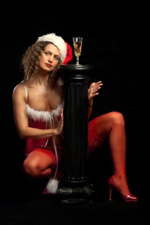 sensual nude: Sensual Naked erotic woman in Mrs Santa Claus costume