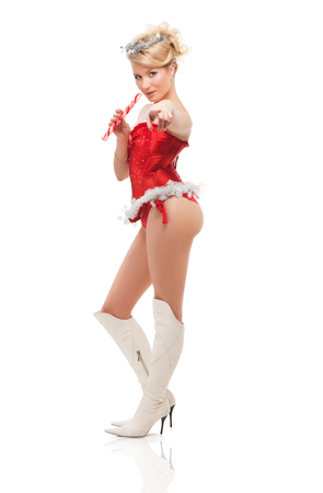 beautiful blonde sexy girl wearing santa claus clothes 版權商用圖片