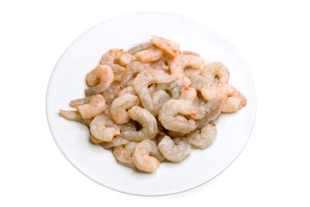 raw prawns in a white bowl